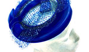 blue pill box hat