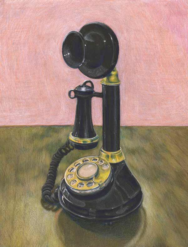 Black old candlestick-style black rotary phone with golden dial and accents aginst a wooedn table and pink background.
